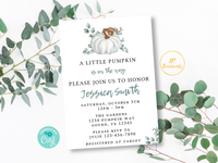 Fall Baby Shower Invite Template, Pumpkin Baby Shower Invitation, Printable Little Pumpkin Baby Shower, White Pumpkin Boho Chic Greenery