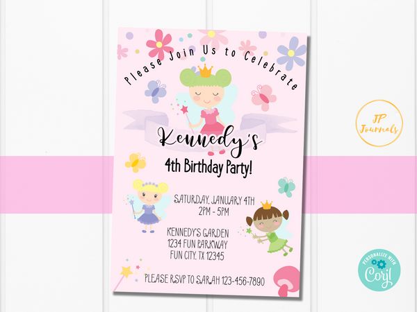 Printable Garden Fairy Birthday Party Invitation Template
