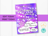 Sleepover Slumber Party Birthday Party Invitation Template - Edit Online Print at Home - Tween Girl - Printable Party Invite - Pink Galaxy