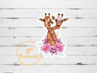 Pretty Floral Giraffes Laminated Die Cut Sticker for Giraffe Lovers