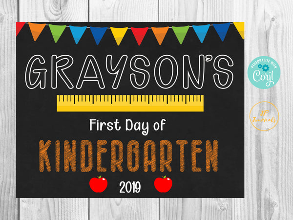 Cute First Day of School 2019 Printable Chalkboard Sign for Boys