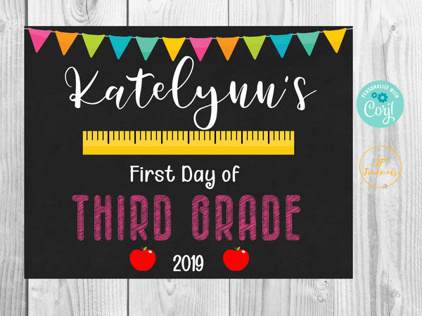 Cute First Day of School 2019 Printable Chalkboard Sign for Girls