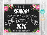 Pretty Floral Last First Day of School Senior Printable Sign