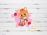 Cute Kawaii Kitty and Strawberry Milk Sticker for Cat and Anime Lovers