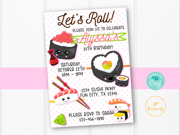 Kawaii Sushi Birthday Party Invitation Template - Anime Sushi Party for Girls