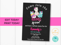 Llama Birthday Party Invitation Template - Llama Squad Whole Llama Fun - Fiesta Alpaca - Pink Purple Floral Spring Cute Invite for Girls