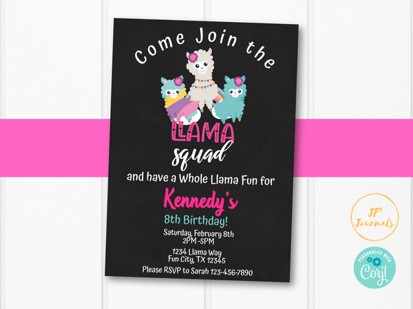 Llama Birthday Party Invitation Template - Llama Squad Whole Llama Fun