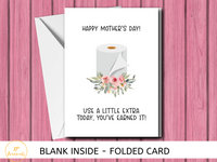 Funny Mother's Day Card, Flowers and Toilet Paper, Social Distancing, Card for Mom, Mother's Day 2020, Greeting Card