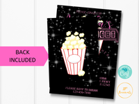 Girl Move Night Birthday Party Invitation Template - Edit Online Print at Home - Movie Theater Party Pink and Black Invite for Girls