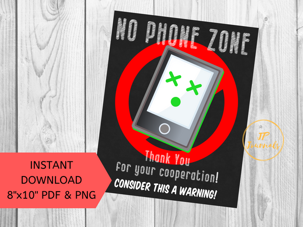 No Phone Zone Printable Poster