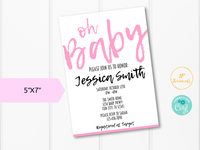 Oh Baby Printable Baby Shower Invitation Template - Simple Modern for a Girl