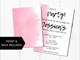 Pink Watercolor and Black Birthday Party Invitation Template