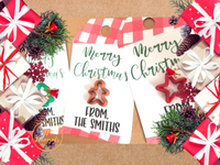 Personalized Christmas Gift Tags, Cute Custom Christmas Gift Tag, Red White Buffalo Plaid, Ideal for Christmas Cookie Gift Baskets!