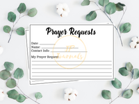Printable Prayer Request Cards - Instant Digital Download File