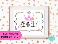 Personalized Printable Princess Crown Unicorn Sign
