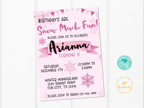Snow Much Fun Birthday Party Invitation Template - Pink Winter Wonderland for Girls - Edit & Print - Printable Invitation - Cute Snowflakes