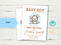 Teddy Bear Baby Shower Invitation Template - Edit & Print - Printable Editable Invite - Watercolor Baby Boy Blue Teddy Bear Greenery Leaves