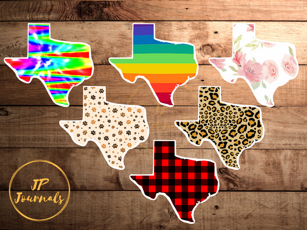 Texas Sticker Decal, Buffalo Plaid, Rainbow, Tie Dye, Floral, Paw Print, Cheetah Print , Texas State Stickers