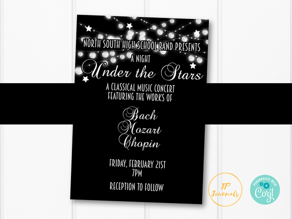 Under the Stars Band Recital Concert Invitation Template