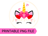 Unicorn Hearts Valentine's Day PNG Clip Art Sublimation Design - DIY Printable Artwork Digital Download - Cute Unicorn for Girls