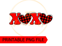 XOXO Valentine's Day PNG Clip Art Sublimation Design - DIY Printable Artwork Digital Download - Buffalo Plaid Print Heart