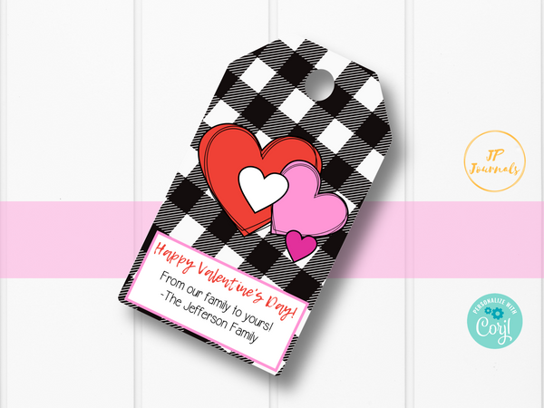 Cute Buffalo Plaid Valentine's Day Printable Gift Tags