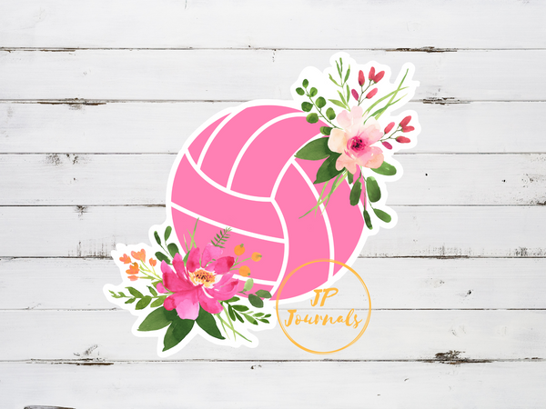 Pretty Pink Floral Volleyball Sticker for Women Girls Who Love Volleyball, Volleyball Player Gift