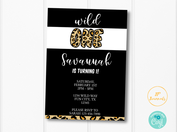 Wild One Birthday Party Invitation Template - Cheetah Leopard Print First Birthday Party