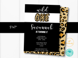 Wild One Birthday Party Invitation Template - Cheetah Leopard Print First Birthday Party for Girls - Edit & Print - Printable Invitation