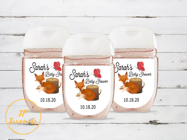 Woodland Fox Baby Shower Hand Sanitizer Bottle Sticker Labels, Custom Personalized Woodland Creature Forest Animal Labels