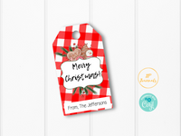Merry Christmas Printable Tags - Holiday Cookie Gift Favor Labels - Personalized - Red Buffalo Plaid and Holly Berry - Happy Holidays