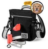 Bundle: ODG Day/Night Walking Bag (Black) and ODG Dine Away Set TM (Med/Lg Dogs) (Black)