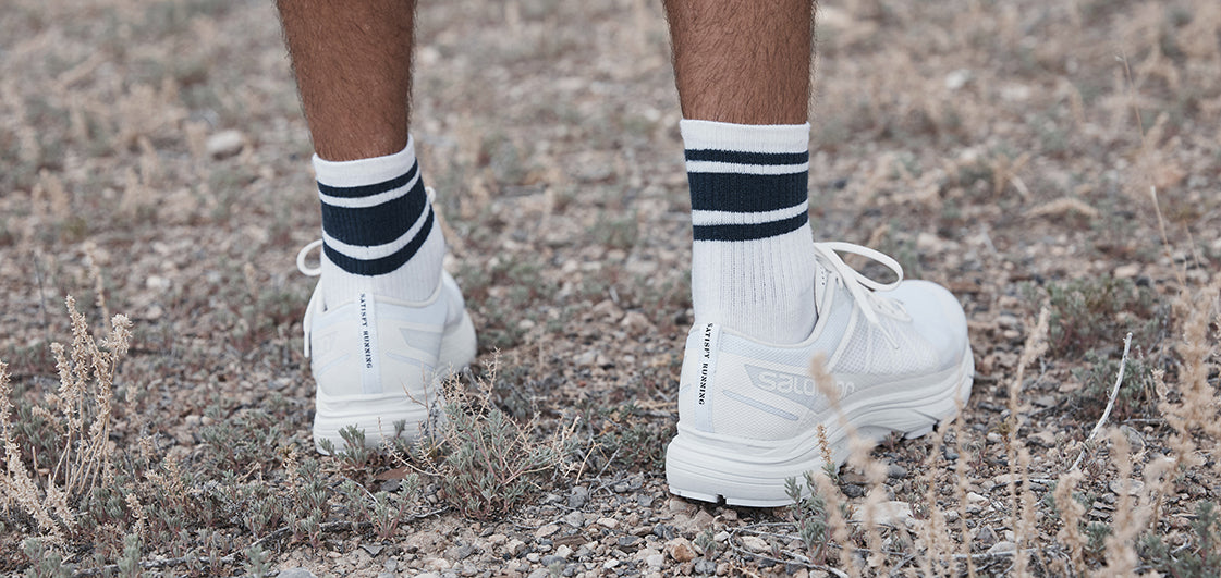 Satisfy Running Socks with Salomon Sonic RA Max in white