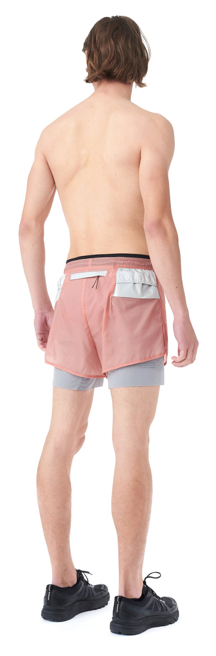 "Trail Long Distance 3"" Shorts - CORAL PINK - Silhouette back"