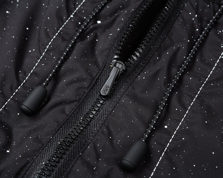 Anorak - Black Silk Splattered - Riri Zip