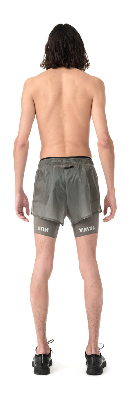 "Coffee Thermal Short Distance 8"" Shorts - Steel - Model Back"