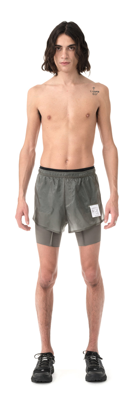"Coffee Thermal Short Distance 8"" Shorts - Steel - Model Front"