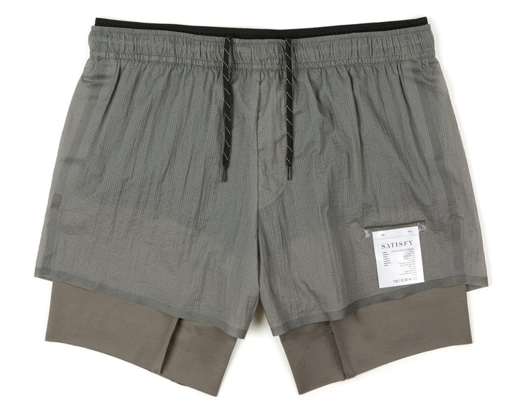 "Coffee Thermal Short Distance 8"" Shorts - Steel - Front"