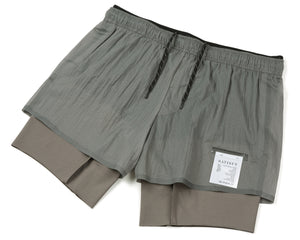 "Coffee Thermal Short Distance 8"" Shorts - Steel - Front Side"