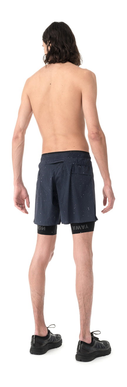 "Trail Long Distance 10"" Shorts - Navy Silk Splattered - Model Back Side"