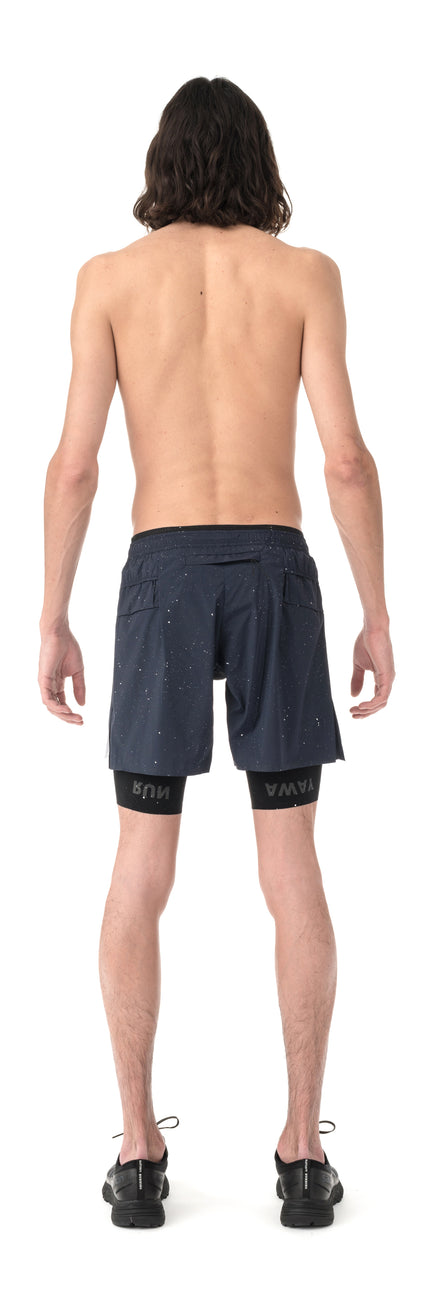 "Trail Long Distance 10"" Shorts - Navy Silk Splattered - Model Back"