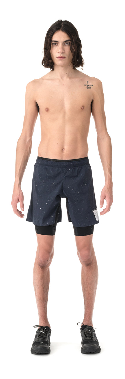 "Trail Long Distance 10"" Shorts - Navy Silk Splattered - Model Front"