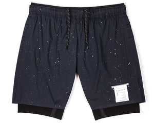 "Trail Long Distance 10"" Shorts - Navy Silk Splattered - Front"