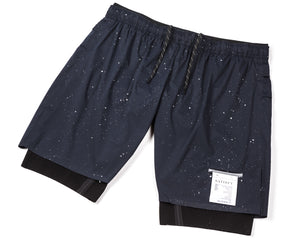 "Trail Long Distance 10"" Shorts - Navy Silk Splattered - Front Side"