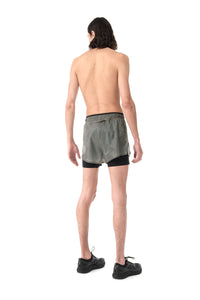 "Short Distance 3"" Shorts - Steel Splattered - Model Back"