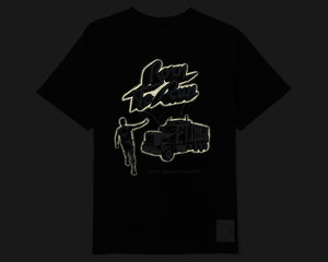 Moth Eaten T-Shirt - Born to Run - Front Reflective