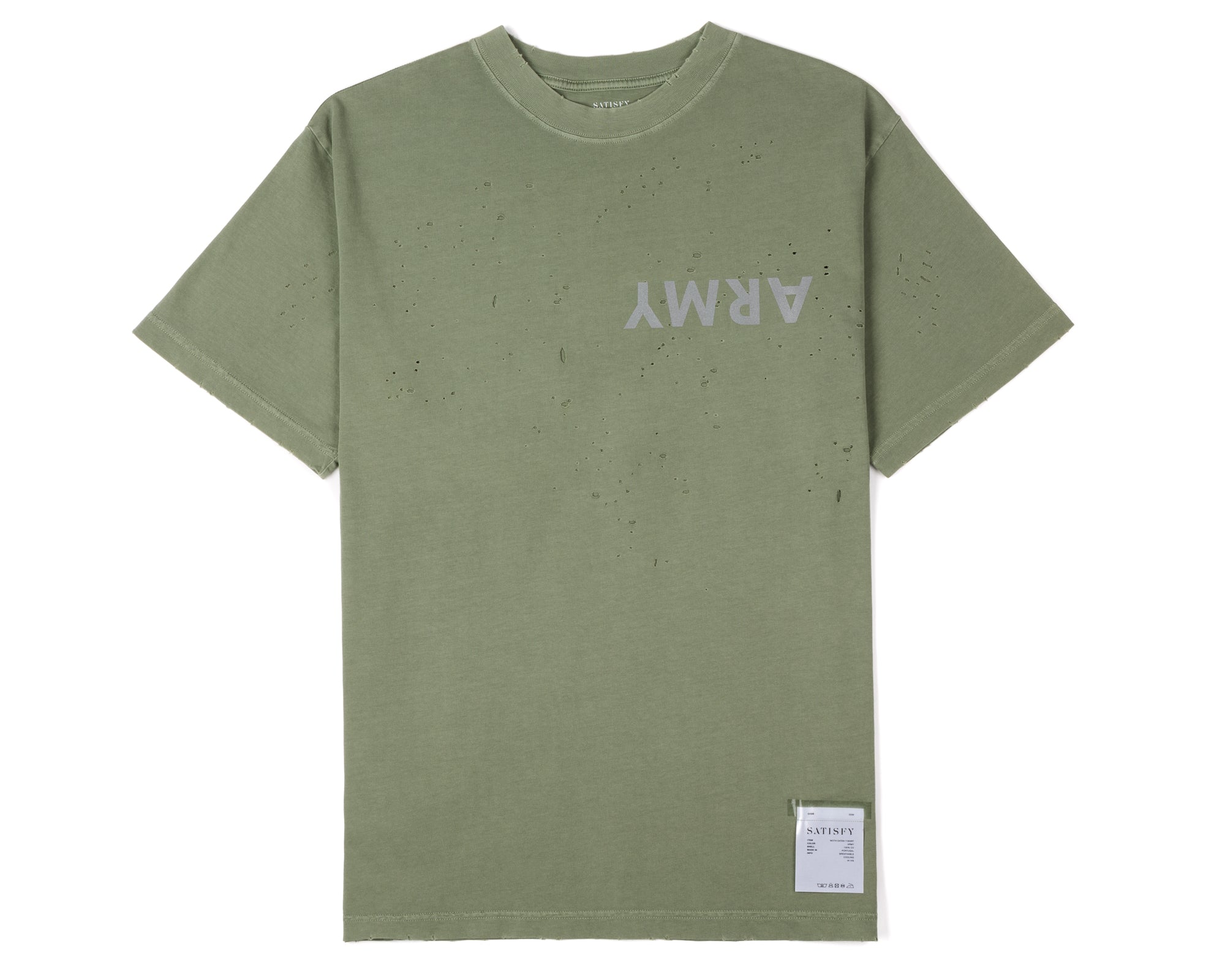 Moth Eaten T-Shirt - Army - Front