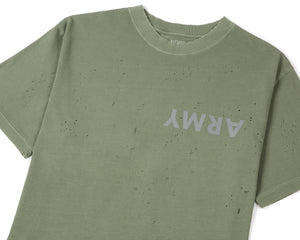 Moth Eaten T-Shirt - Army - Front Side