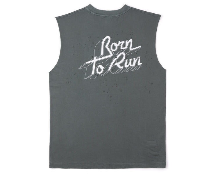 Cult Moth Eaten Muscle Tee - Born to Run - Shadow - Back