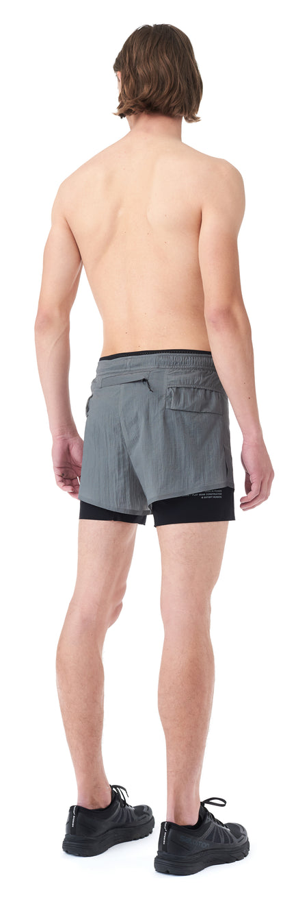 "Long Distance 3"" Shorts - STEEL - Silhouette-Back"